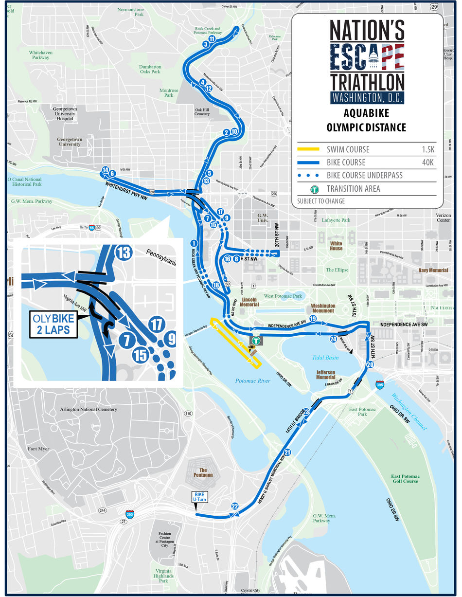 Nation's Escape Triathlon - Olympic Aquabike Map