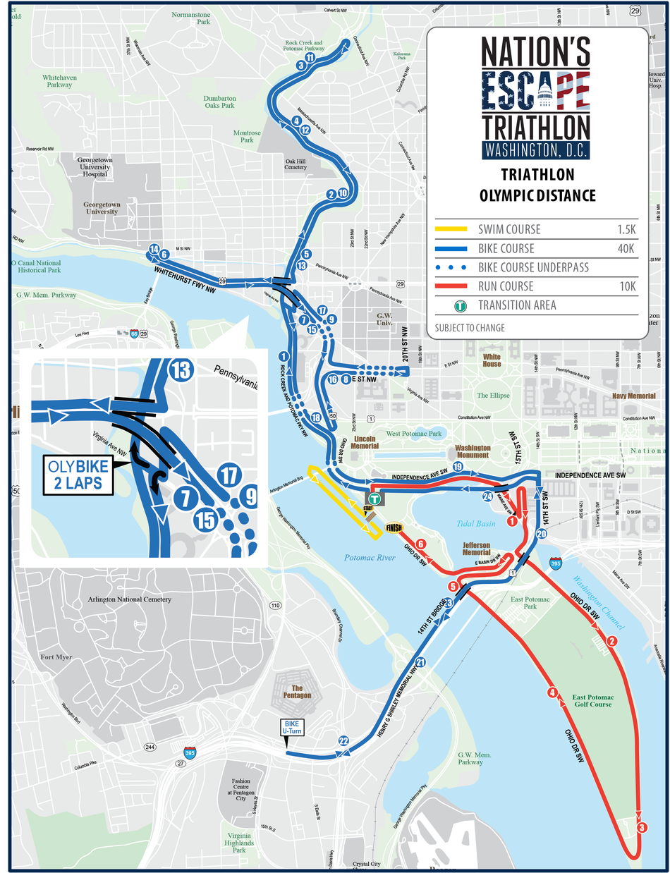 Nation's Escape Triathlon Olympic Map